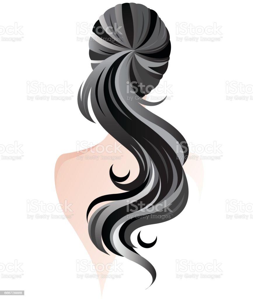 women ponytail hair style, women back vector art illustration