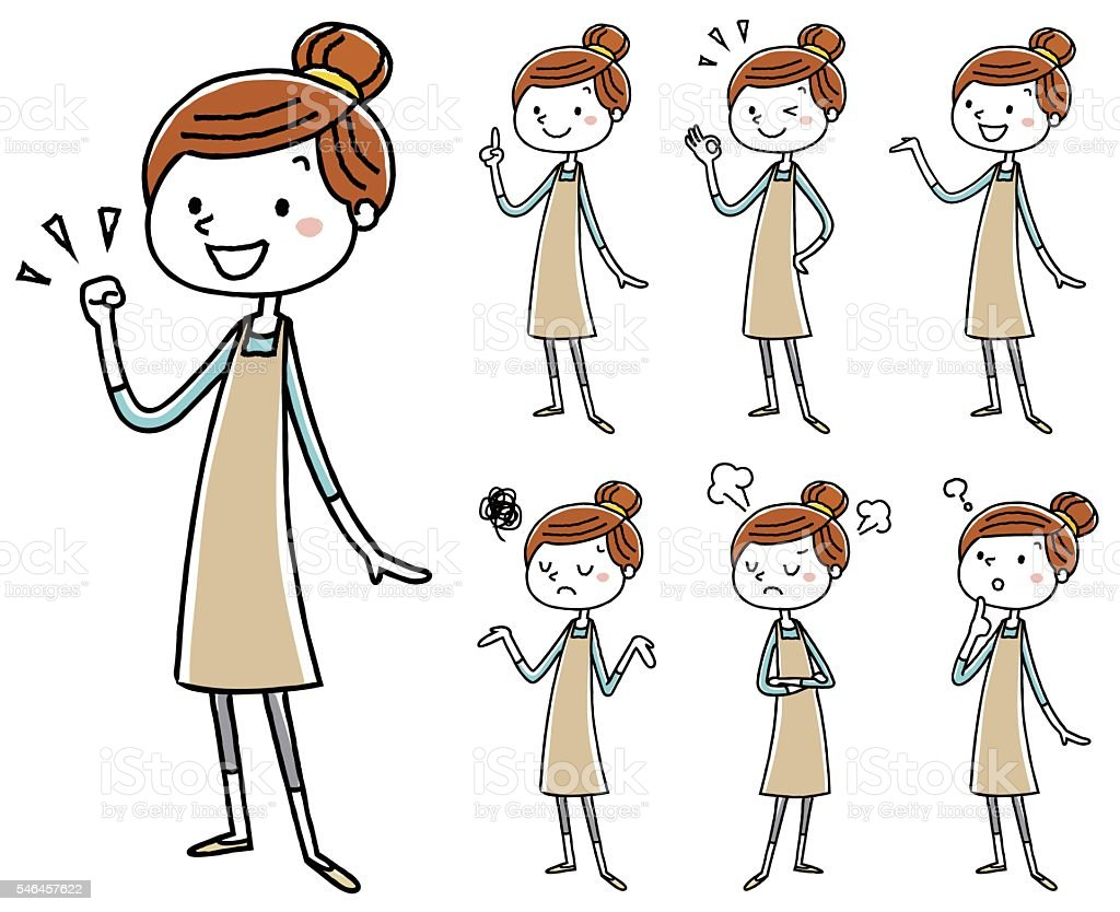 Women pose variation of the apron vector art illustration