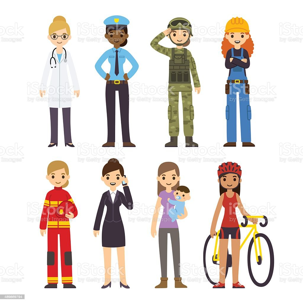 Women professions vector art illustration