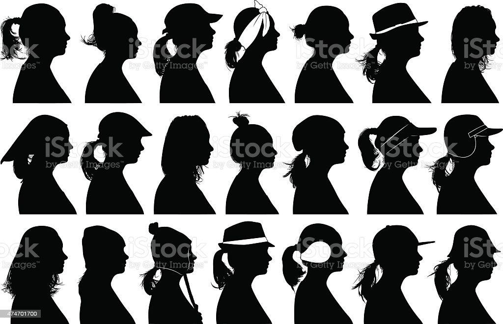 Women profiles vector art illustration