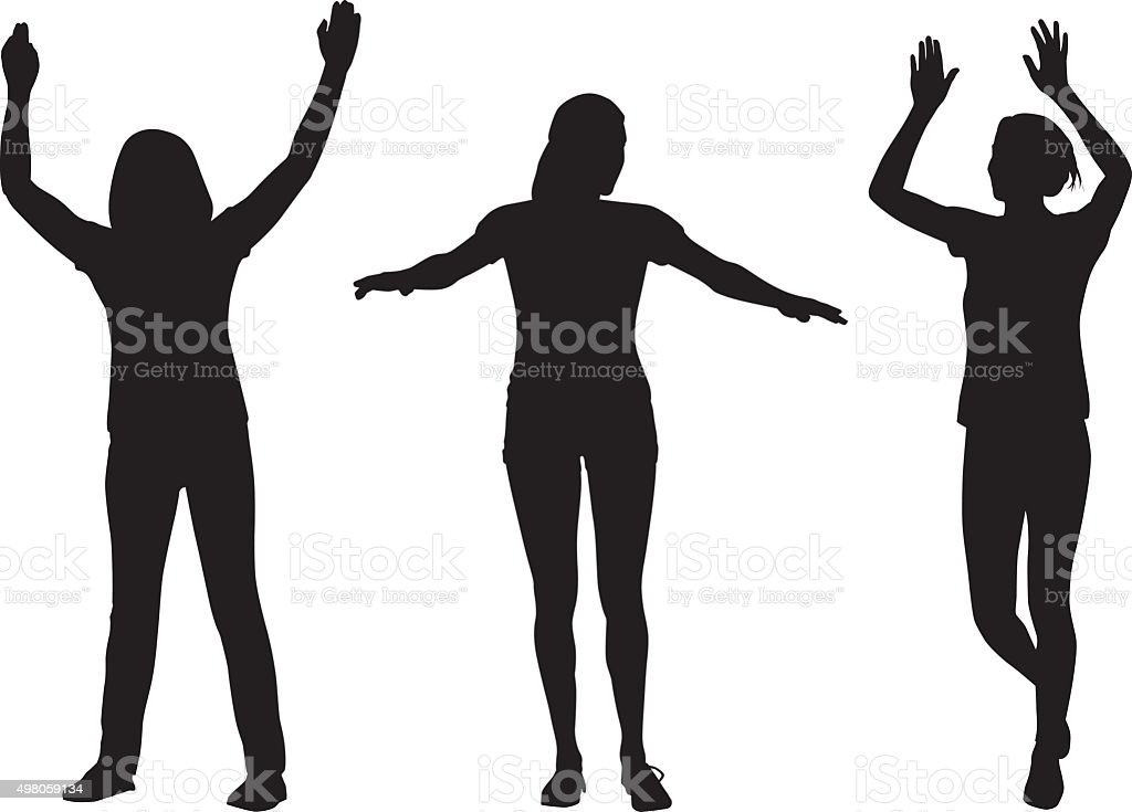 Women Raising Arms Silhouettes vector art illustration