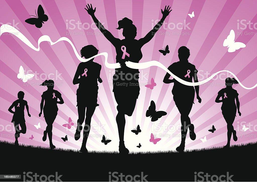 Women Running for Cancer Awareness royalty-free stock vector art