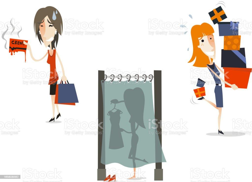 Women shopping set 3 vector art illustration