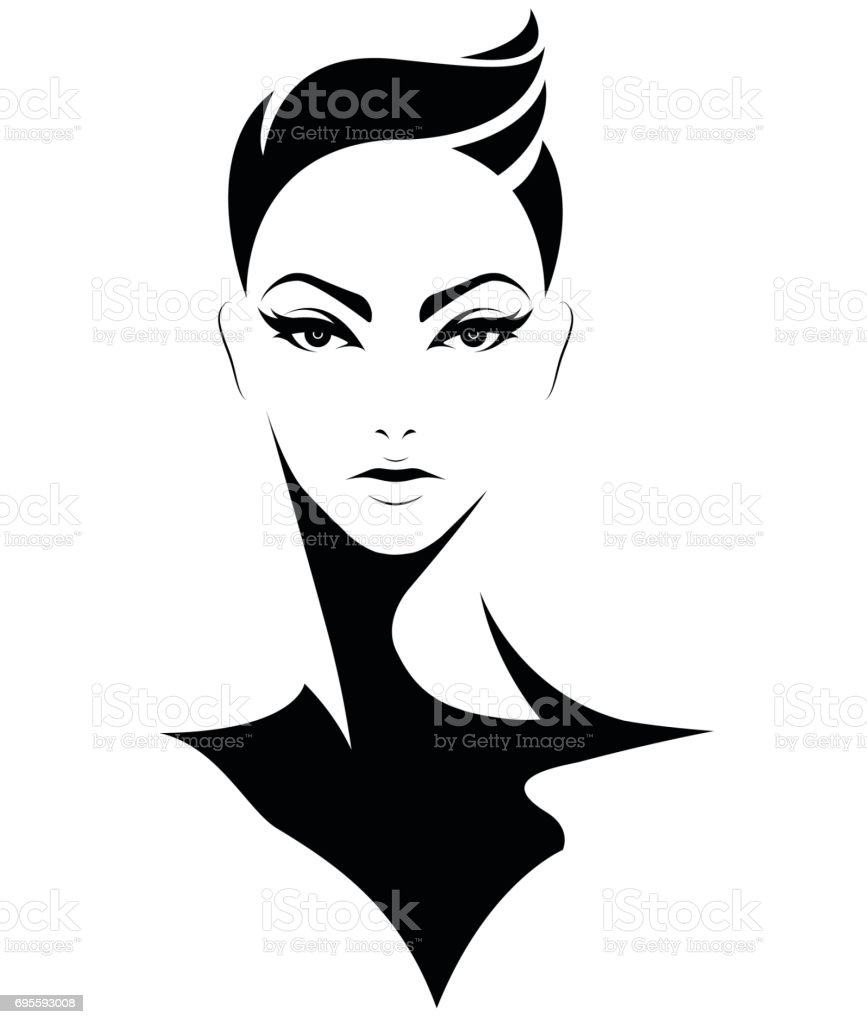 women short hair style icon, emblem women on white background vector art illustration