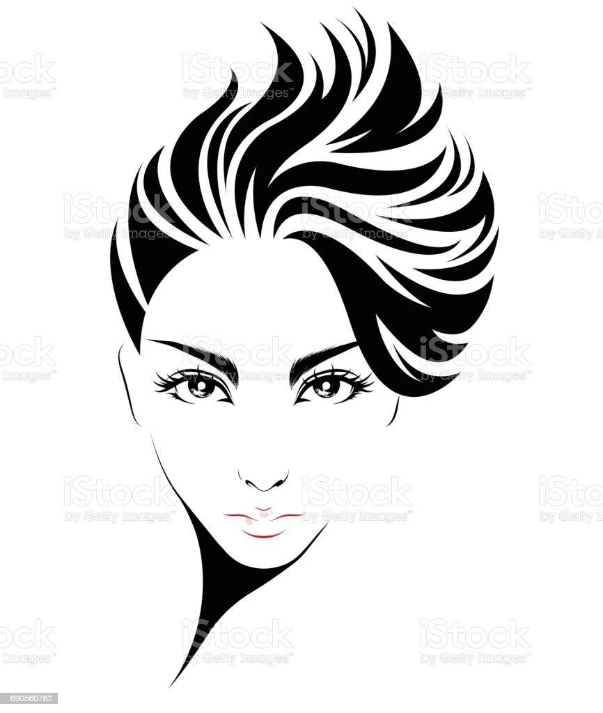 women short hair style icon, icon women on white background vector art illustration