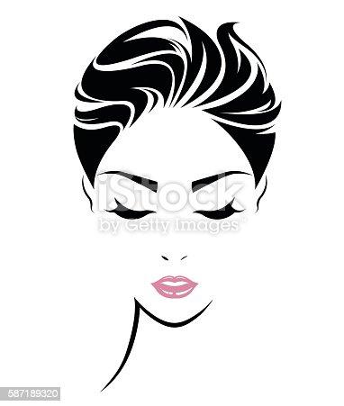 Women Short Hair Style Icon Logo Women Face Gm587189320 100780079