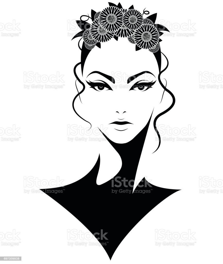 women short hair style icon vector art illustration