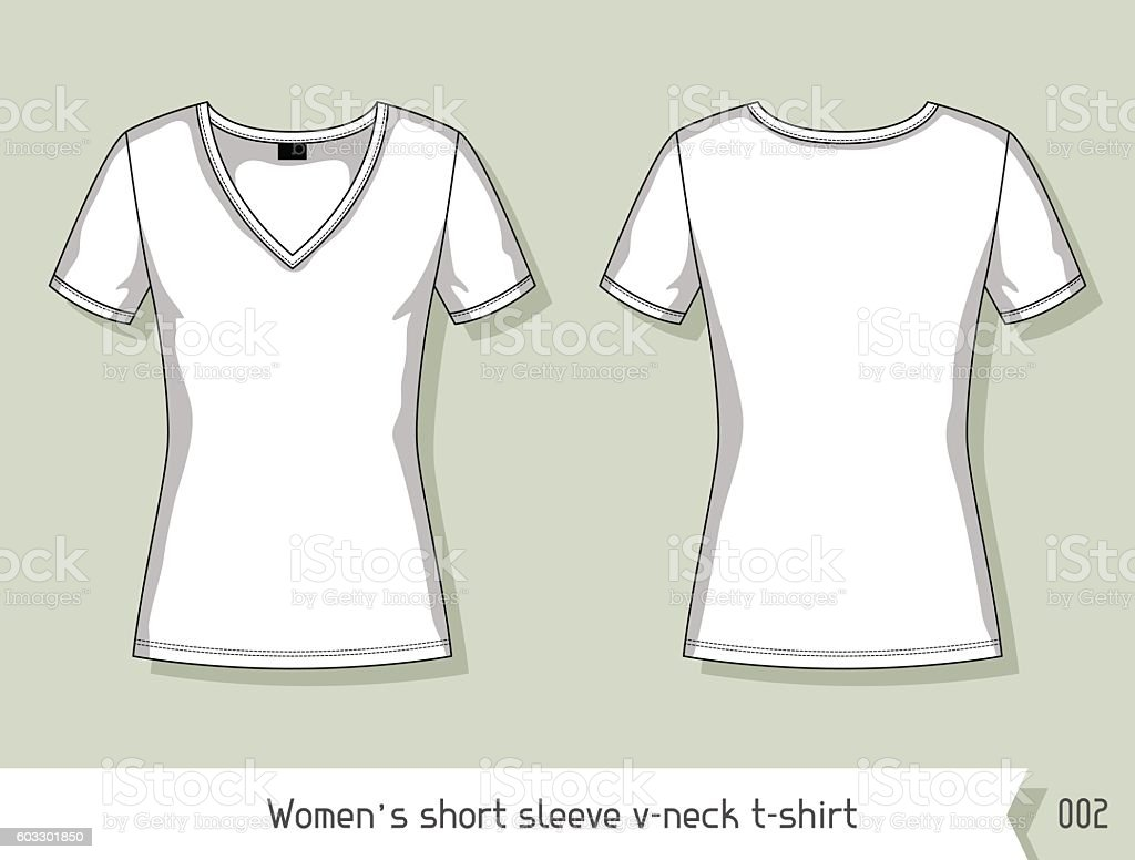 Design t shirt template free - Women Short Sleeve V Neck T Shirt Template For Design Royalty Free