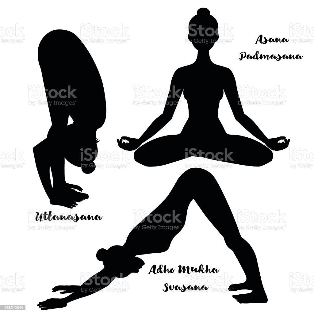 Women silhouette. Yoga lotus pose. Padmasana. Adho mukha svanasana. Downward vector art illustration
