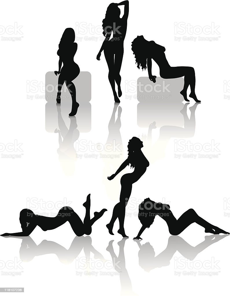 women silhouettes royalty-free stock vector art