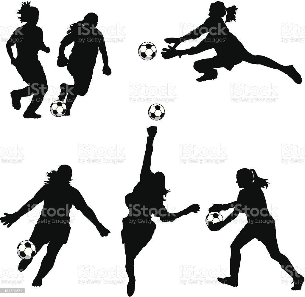 Women Soccer Goalie Silhouettes vector art illustration