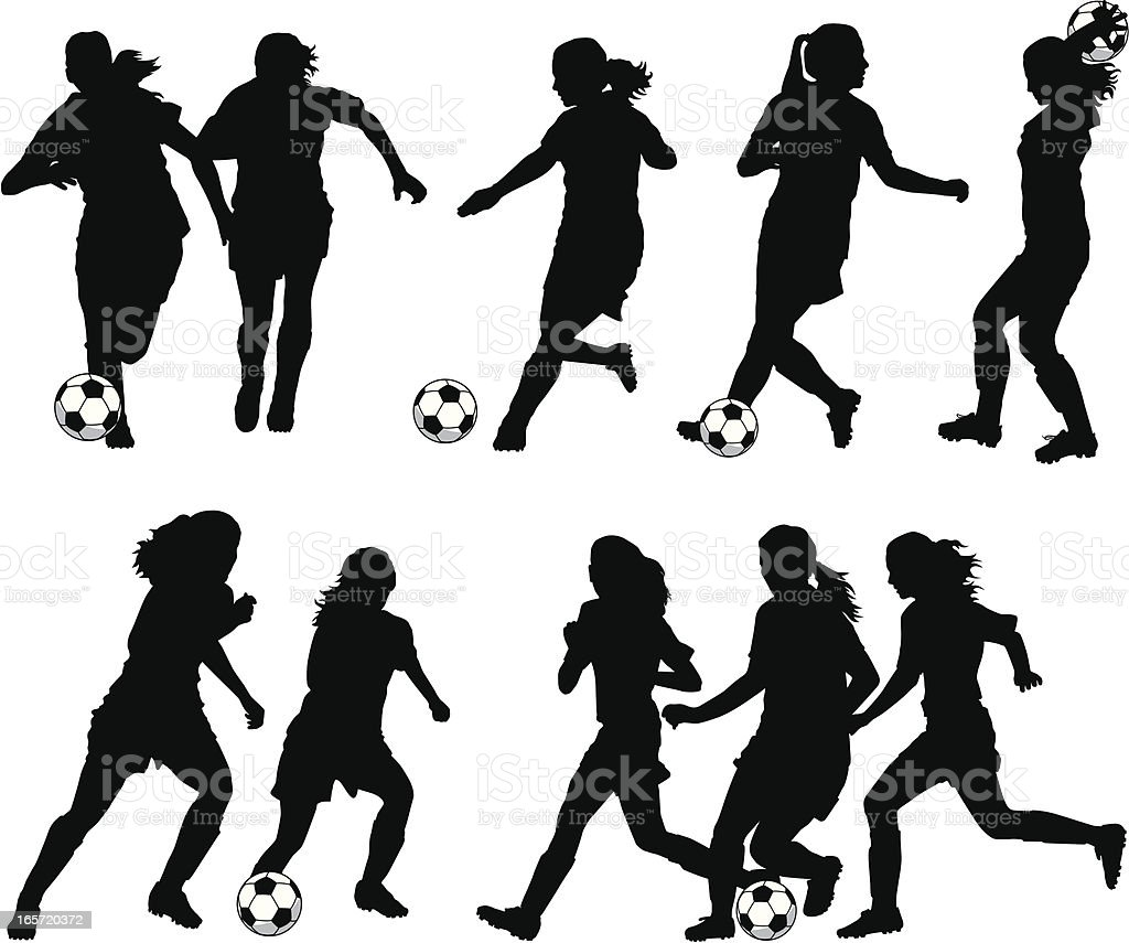 Women Soccer Player Silhouettes vector art illustration