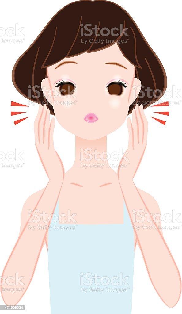 Women suffering from the swollen face vector art illustration