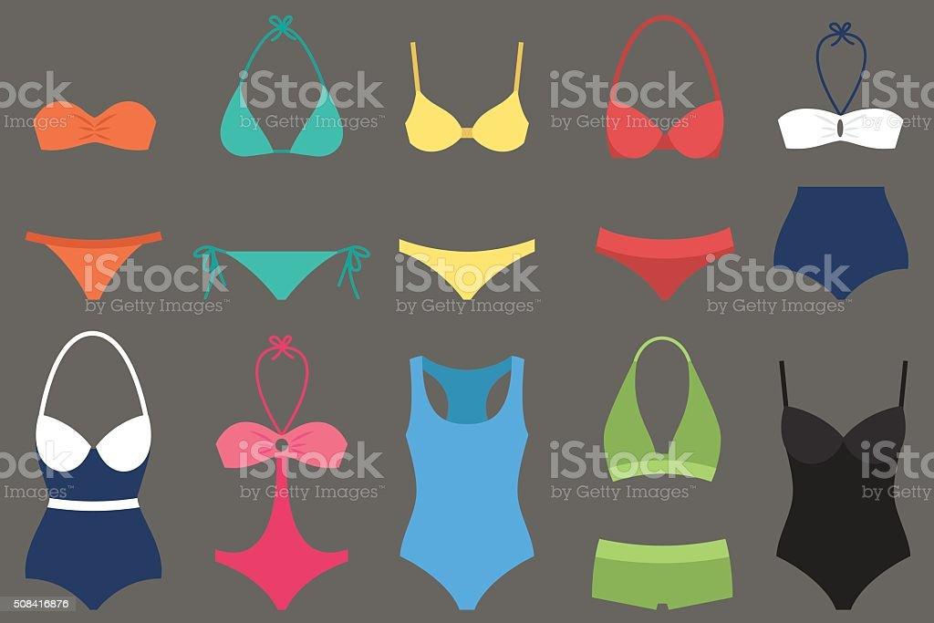 Women swimsuit types vector art illustration