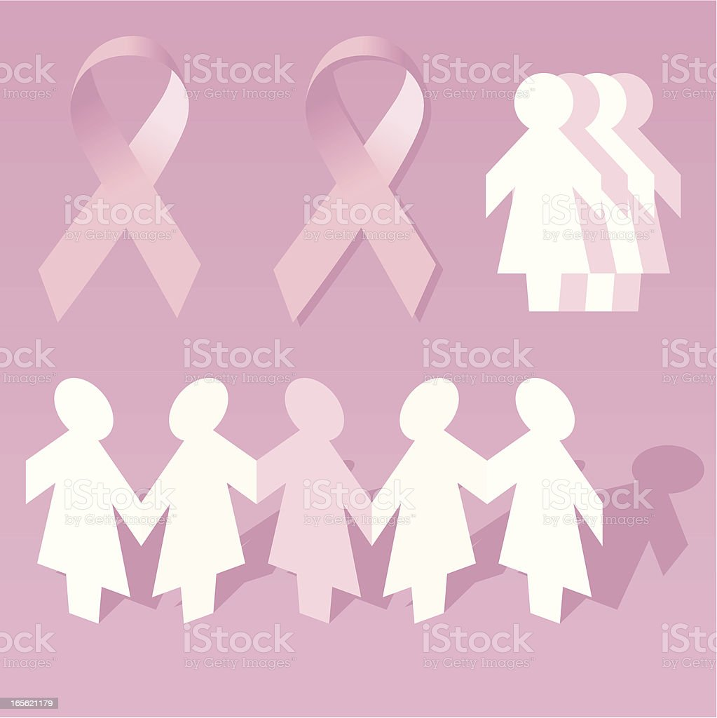 Women together against cancer royalty-free stock vector art