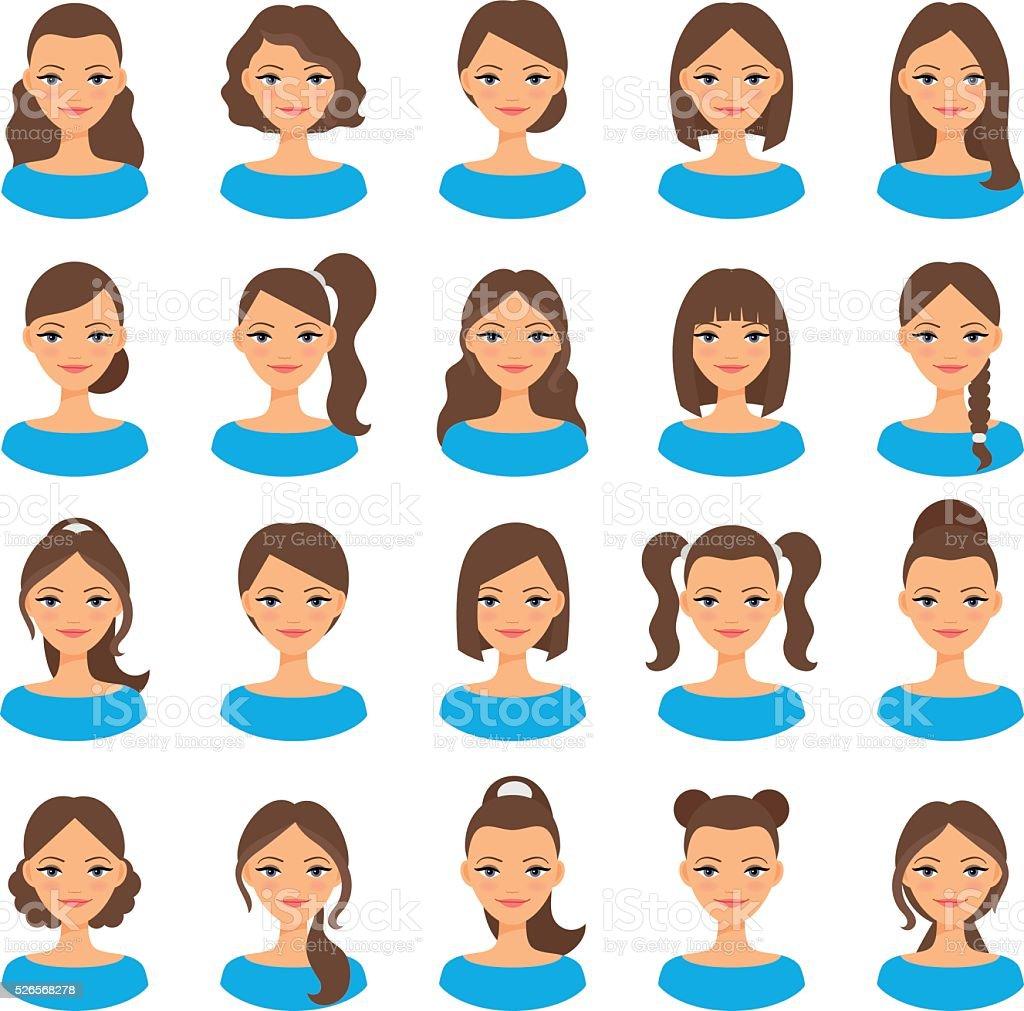 Women various hair styles vector art illustration