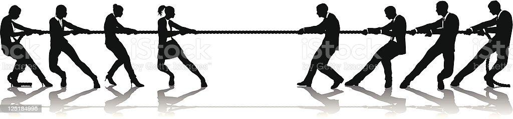 Women versus men business tug of war competition vector art illustration