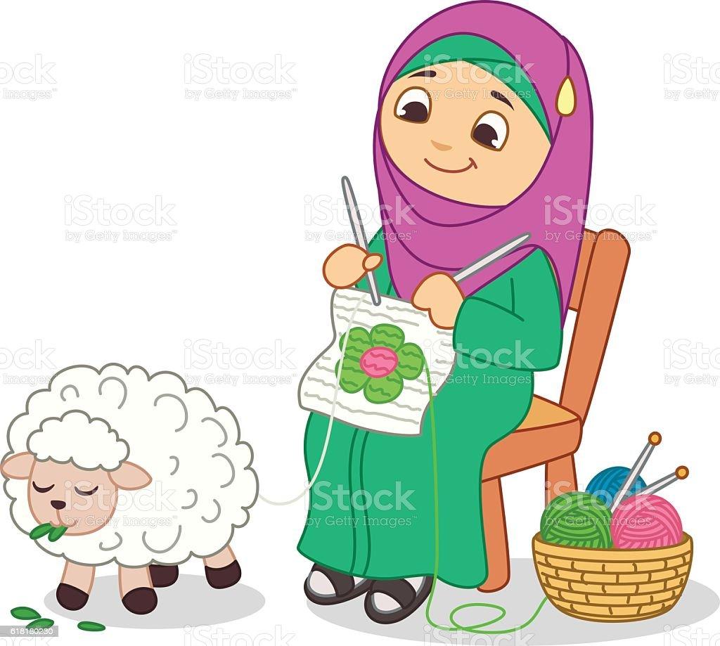 women weaving design vector art illustration