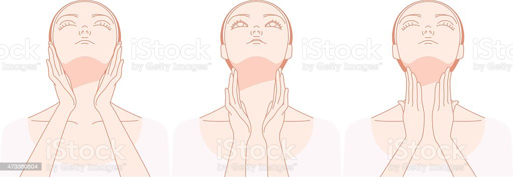 Women who massage the neck vector art illustration