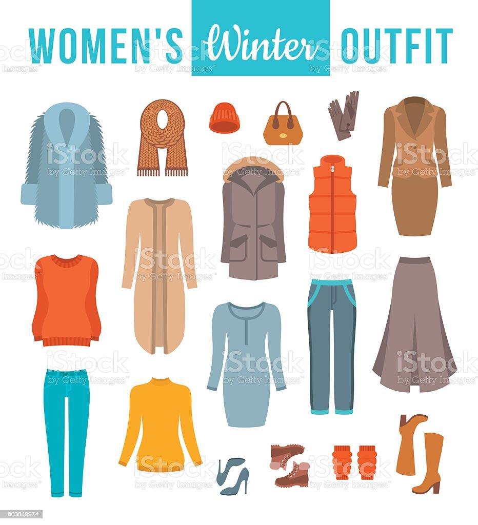 Women winter clothes flat vector icons set vector art illustration