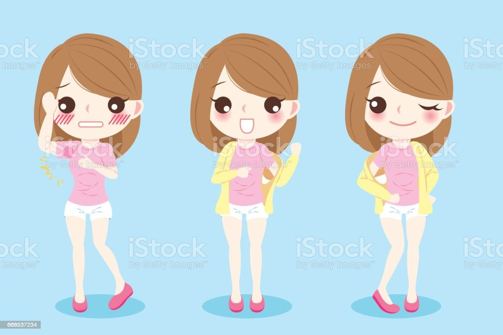 women with armpit problem vector art illustration