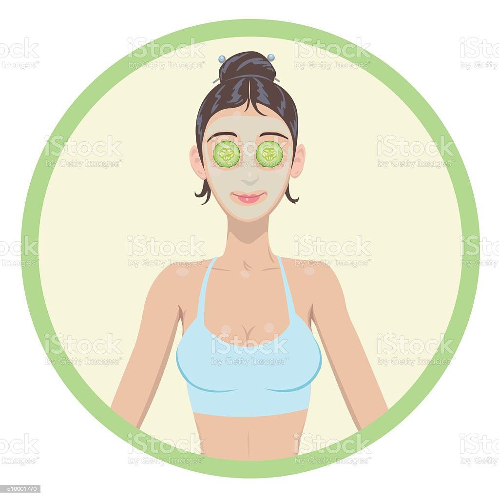 women with cosmetic mask on faces royalty-free stock vector art
