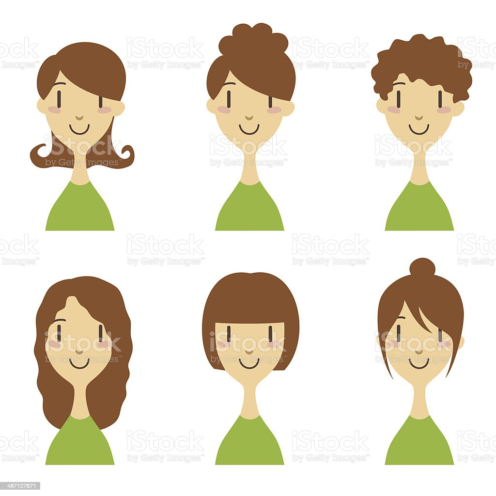 Women with different hairstyle royalty-free stock vector art