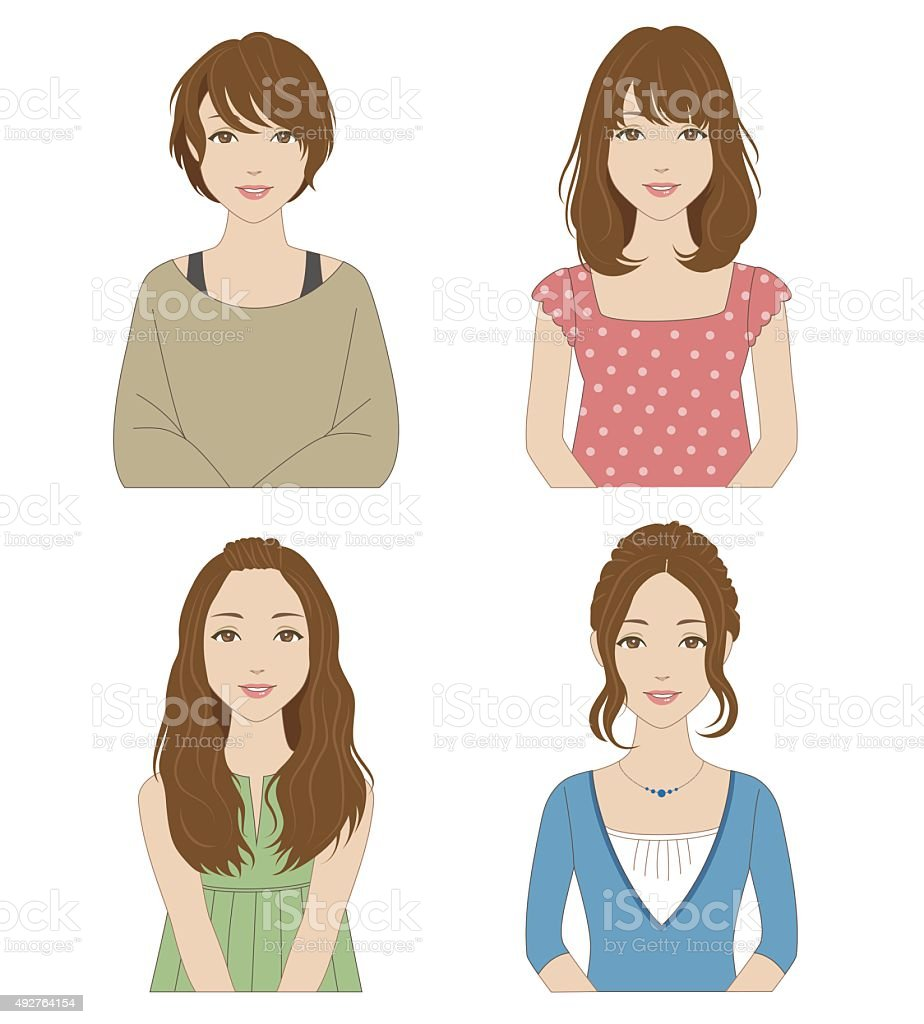 Women with different hairstyles vector art illustration