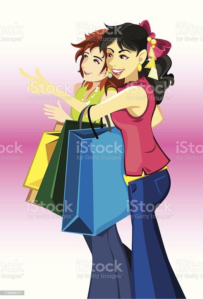 women with shopping bags vector art illustration
