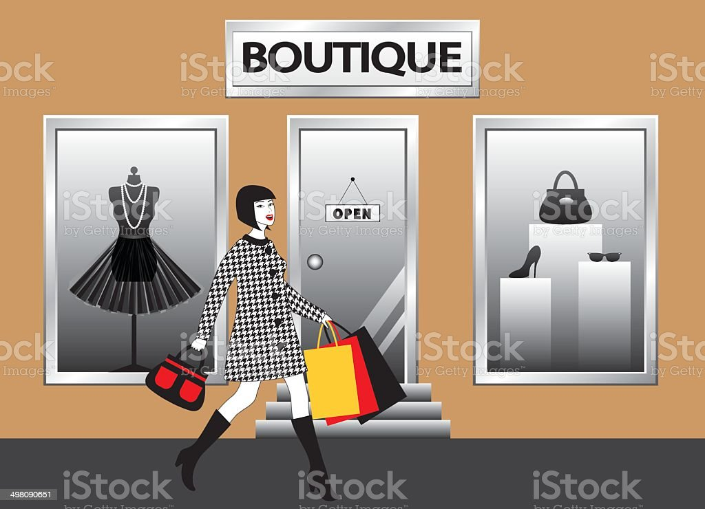 women with shopping bags walking in front of  boutique showcase vector art illustration