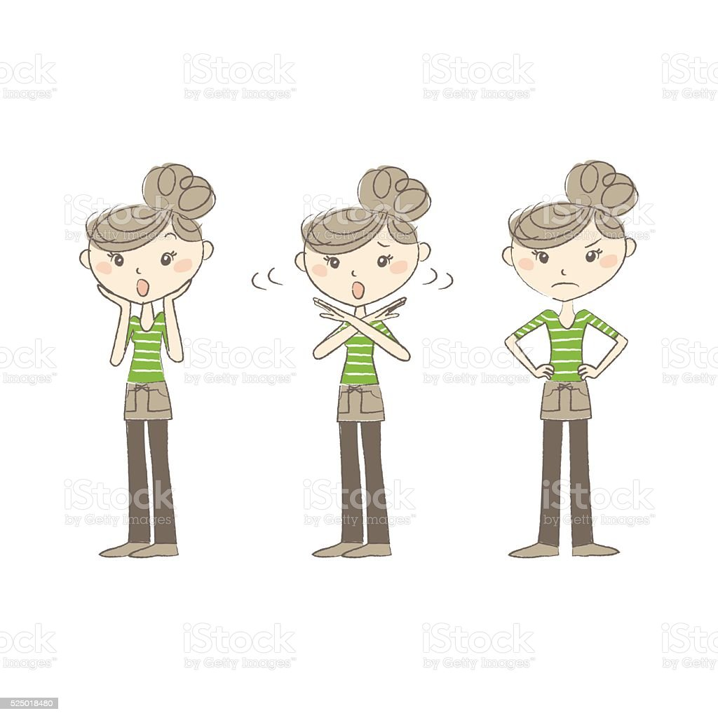 Women with various expressions and poses vector art illustration