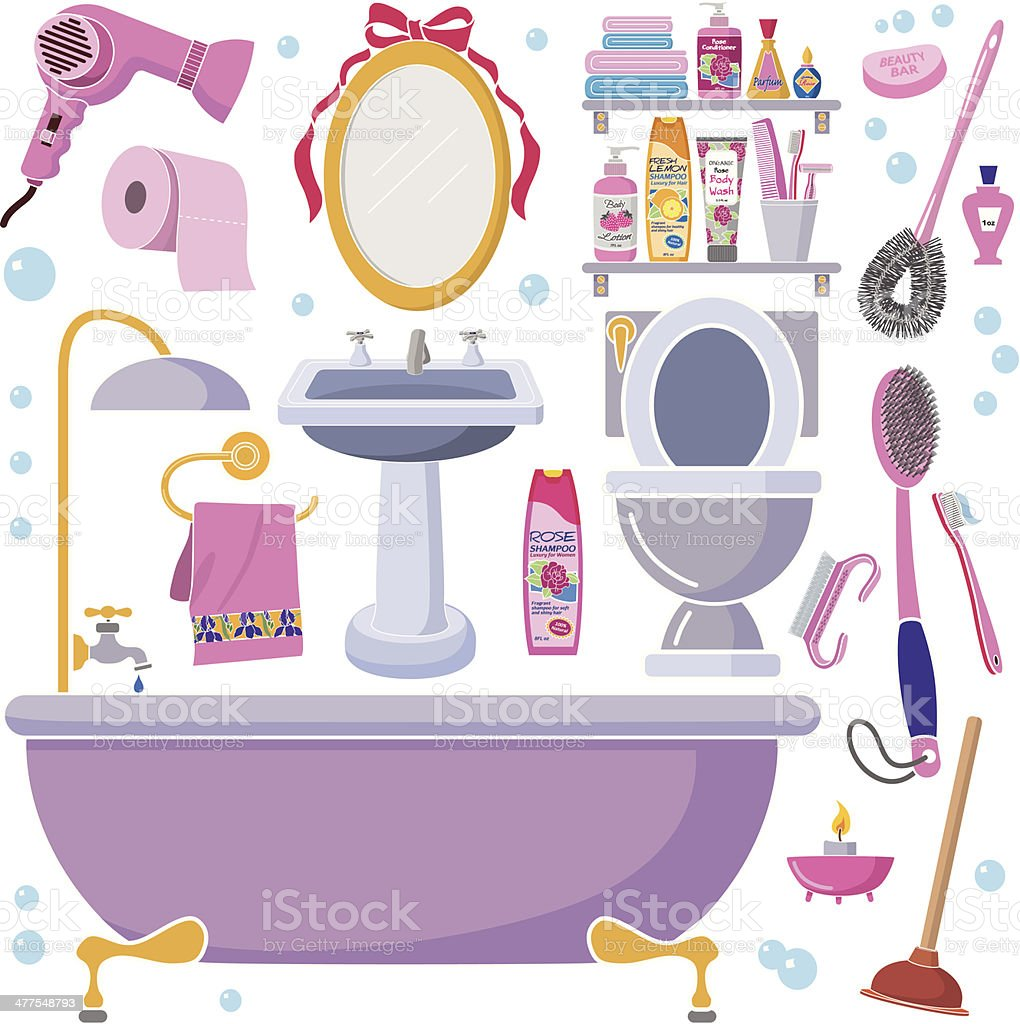 women's bathroom design elements royalty-free stock vector art