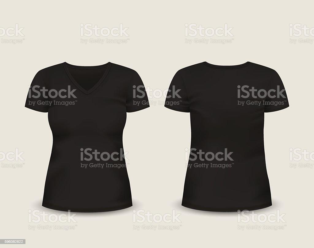 Women's black V-neck t-shirt. Vector template. vector art illustration