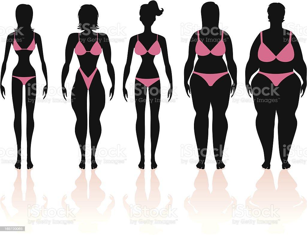 Women's Body Types Group 1 vector art illustration