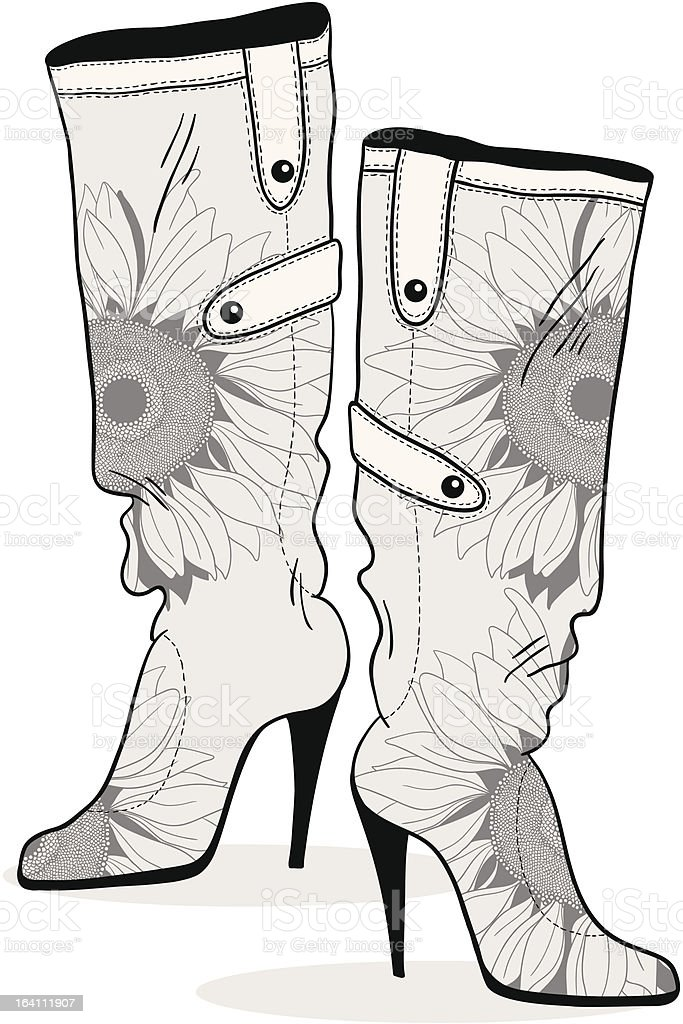 Womens boots with monochrome flower pattern - vektor drawing royalty-free stock vector art