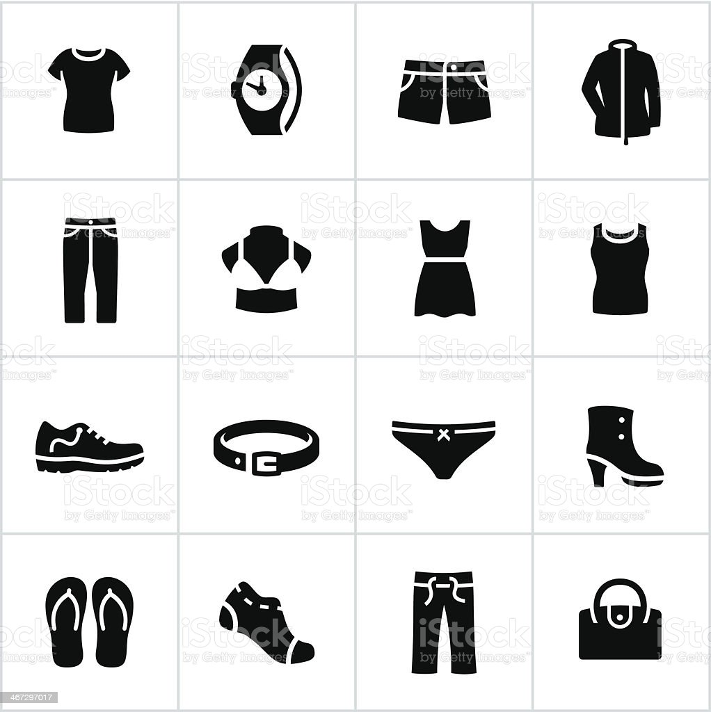 Womens Casual Wear Icons vector art illustration