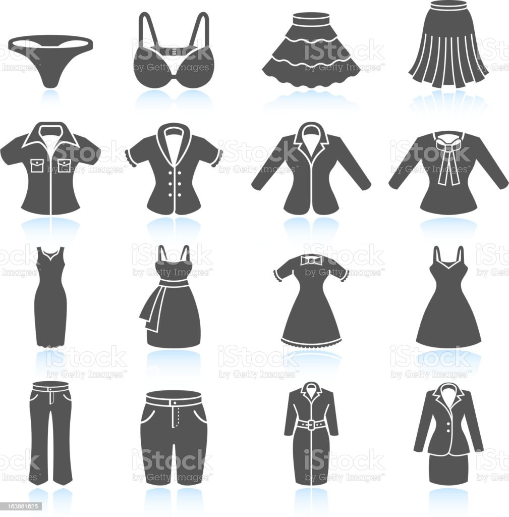 Women's Clothing and Outfits black & white vector icon set vector art illustration