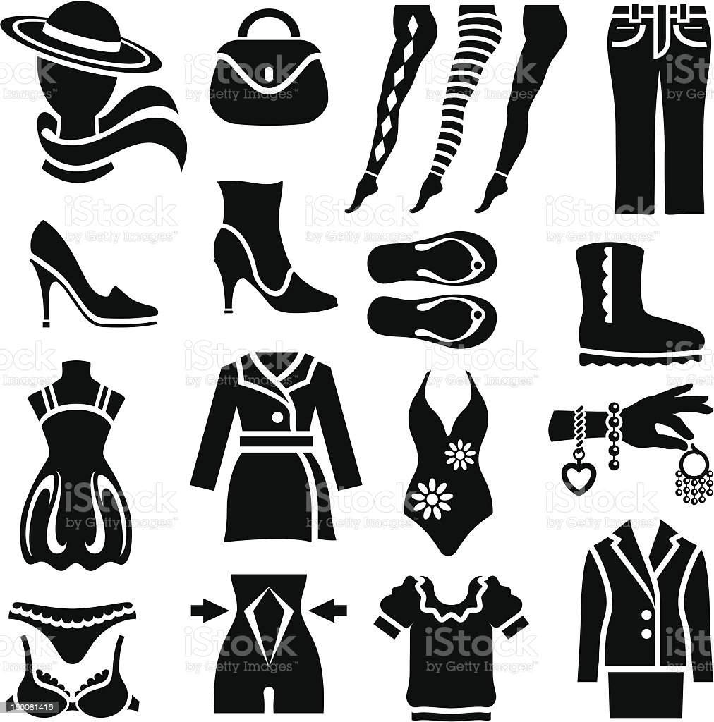 Women's Clothing Icons royalty-free stock vector art