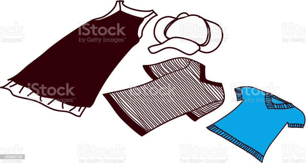 Women's clothings are placed vector art illustration
