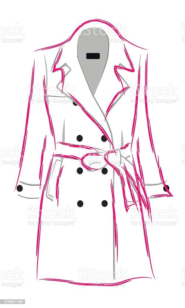Womens coat with a belt vector art illustration