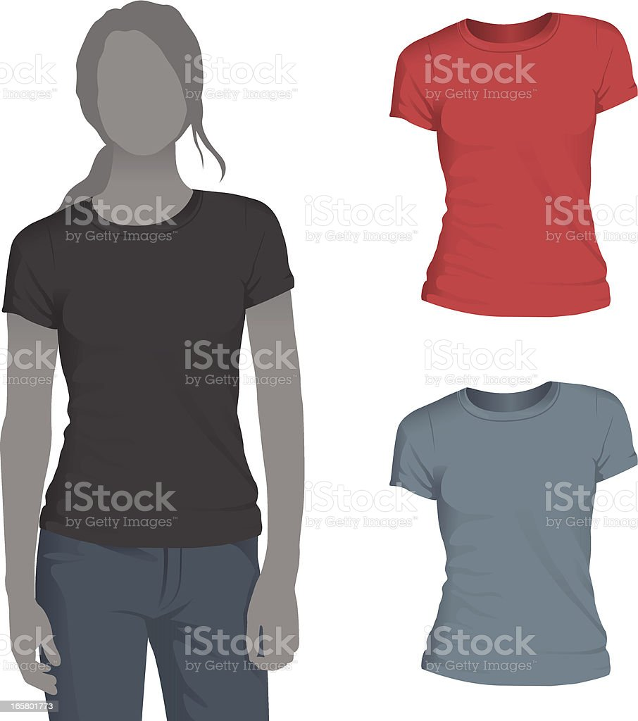 Women's Crewneck T-Shirt Mockup Template vector art illustration