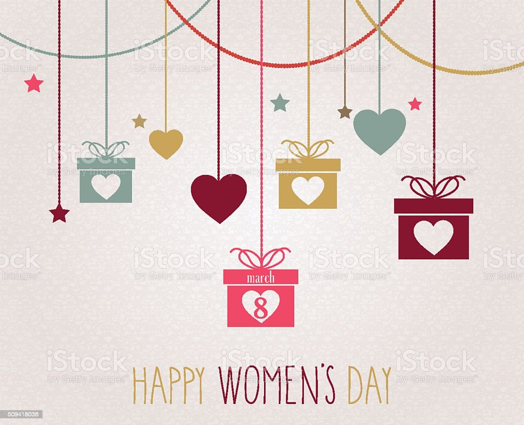 Womens Day poster. Hanging colorful gift vector art illustration