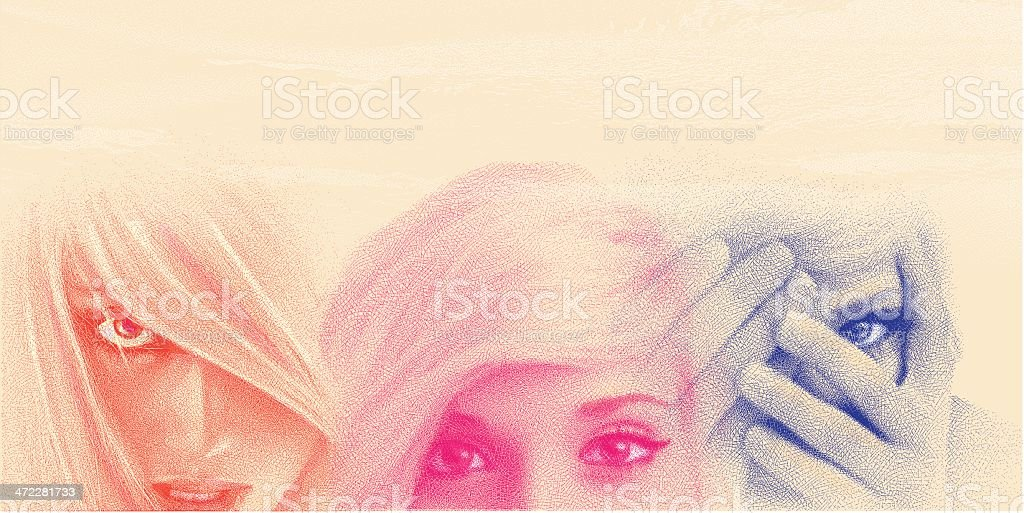Women's Faces And Eyes royalty-free stock vector art