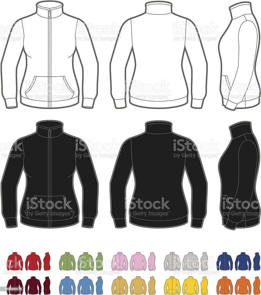 Women's fleece jacket vector art illustration