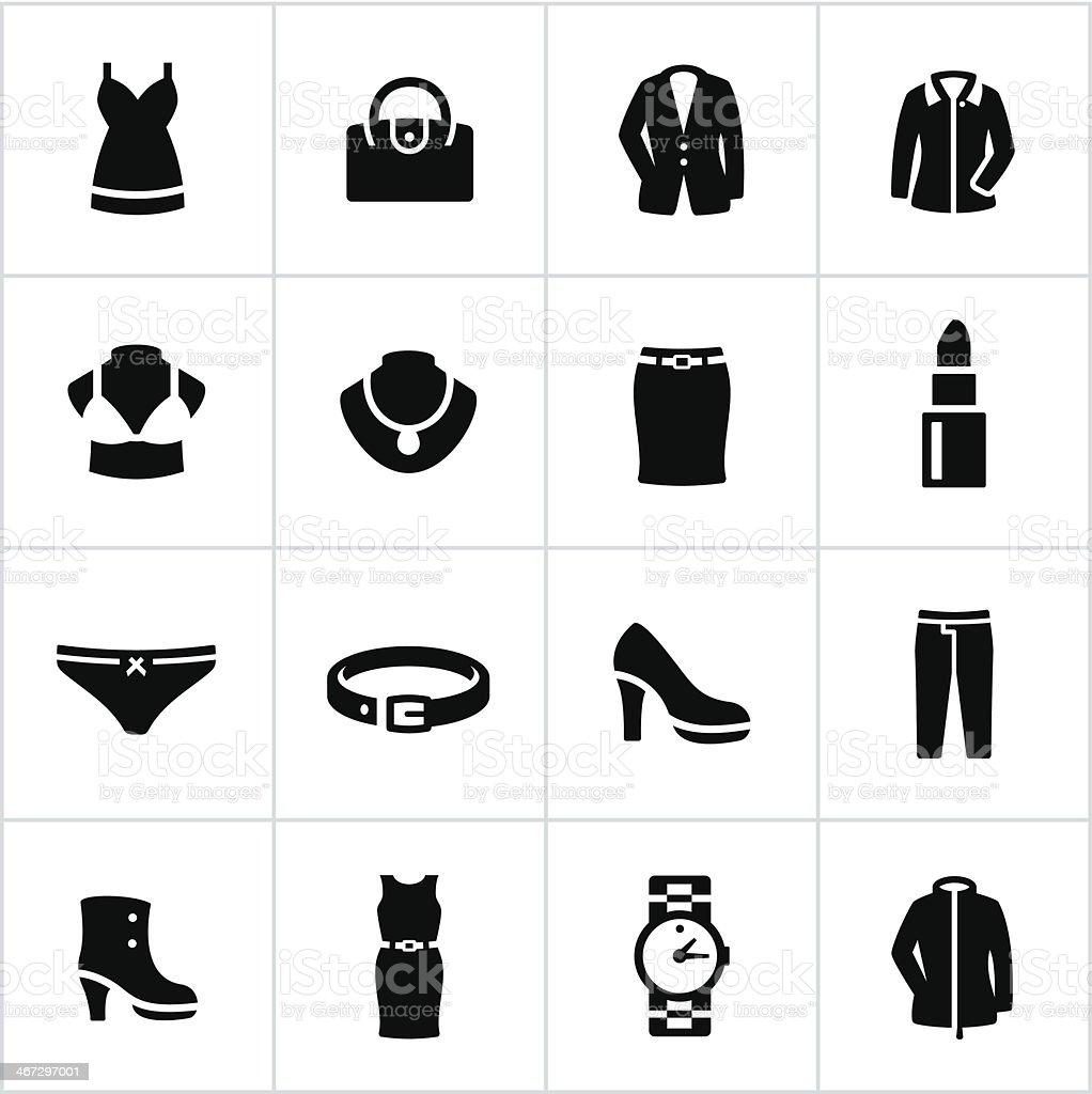 Womens Formal Wear Icons vector art illustration