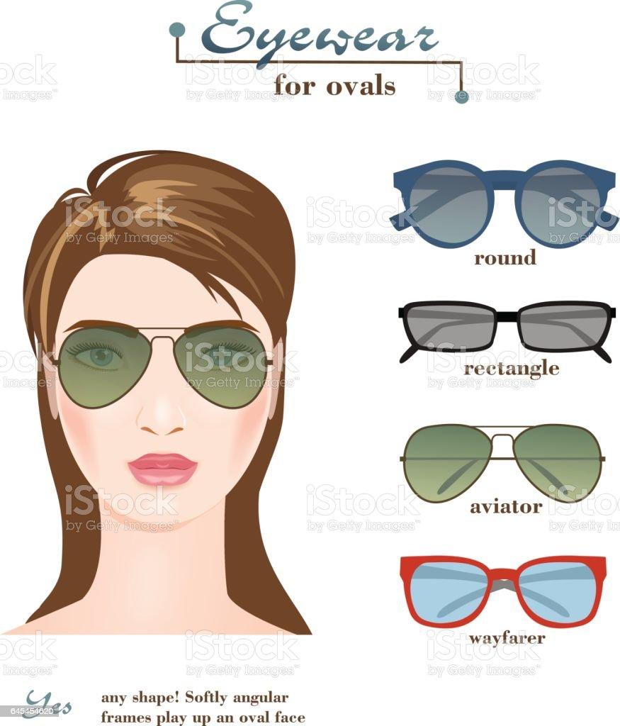 Womens glasses for ovals vector art illustration