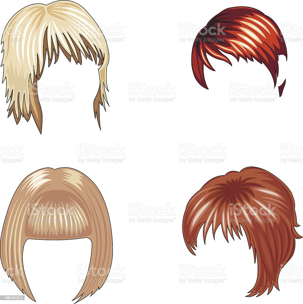 women's hairstyles set royalty-free stock vector art