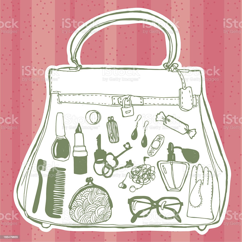 Women's handbag and its contents royalty-free stock vector art