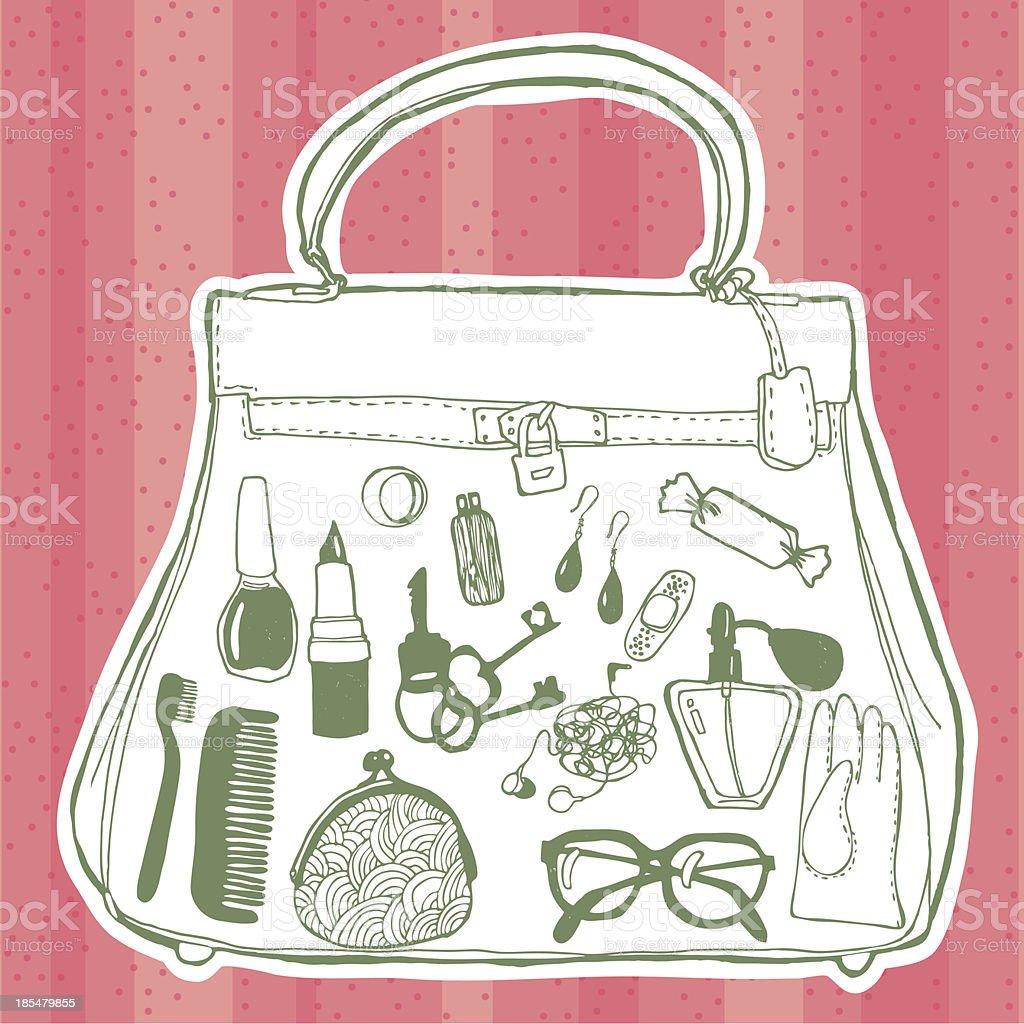 Women's handbag and its contents vector art illustration