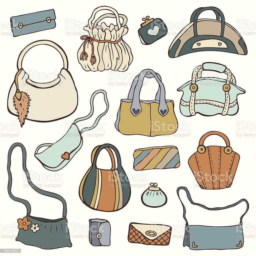 Women's handbags. Vector Set. royalty-free stock vector art